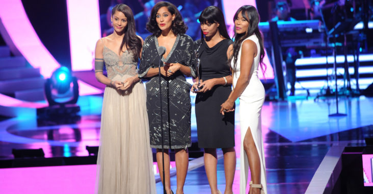 NEWARK, NJ - OCTOBER 26:  Persia White, Tracee Ellis Ross, Jill Marie Jones and Golden Brooks speak onstage during the BET Black Girls Rock show at New Jersey Performing Arts Center on October 26, 2013 in Newark, New Jersey.  (Photo by Brad Barket/BET/Getty Images for BET)